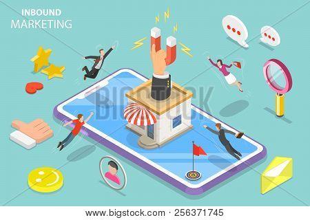 Digital Inbound Marketing Strategy Isometric Flat Vector Concept.