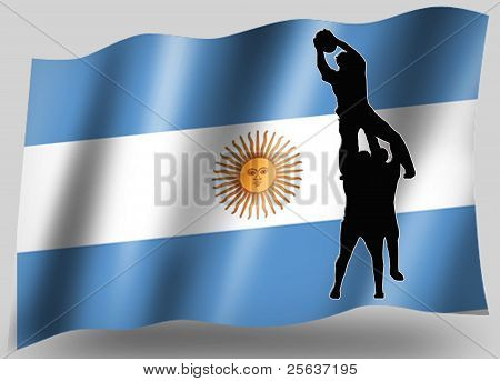 Country Flag Sport Icon Silhouette Argentine Rugby Lineout