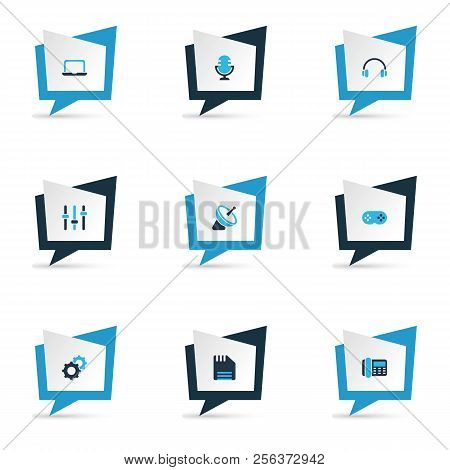 Gadget Icons Colored Set With Setting, Microphone, Satellite And Other Diskette Elements. Isolated V