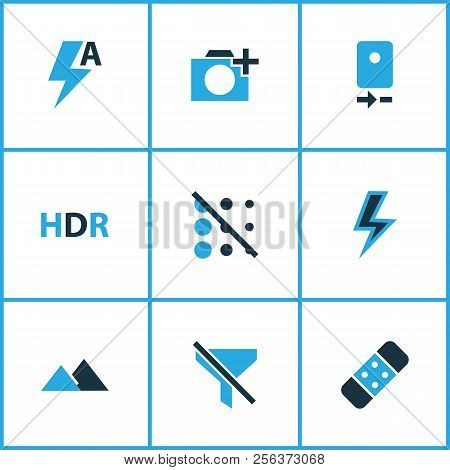 Photo Icons Colored Set With Smartphone, Add A Photo, Circle And Other Plaster Elements. Isolated Ve