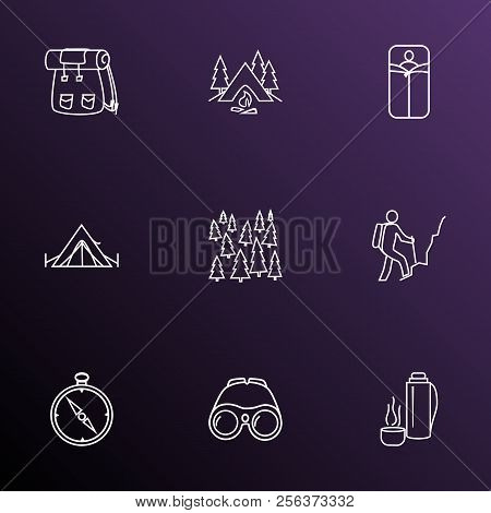 Tourism Icons Line Style Set With Compass, Backpack, Forest And Other Tourism Elements. Isolated Vec