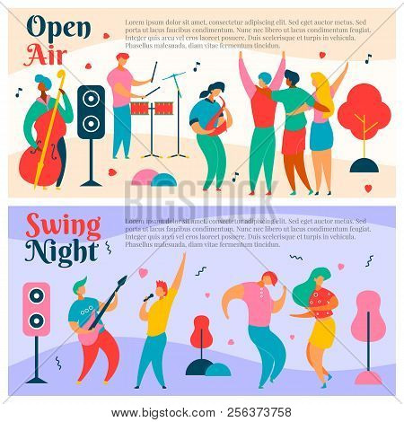 2 Sets Of Colorful Modern Flat Characters For Jazz, Rock, Blues Music Fest-singer, Musicians, Guitar