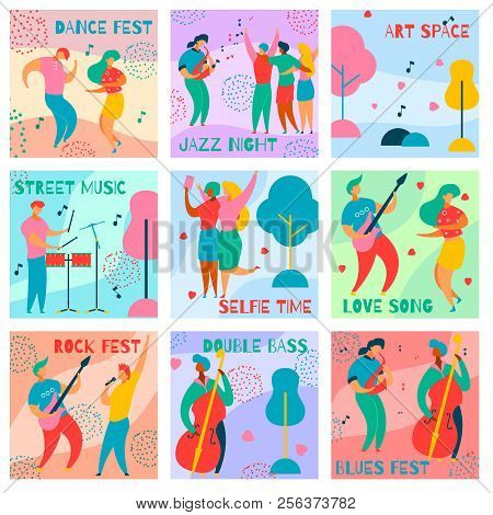 9 Cards Of Colorful Modern Flat Characters For Jazz, Rock, Blues Music Fest-singer, Musicians, Guita