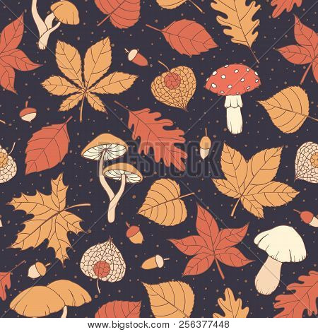 Vector Autumn Seamless Pattern With Oak, Poplar, Beech, Maple, Aspen And Horse Chestnut Leaves, Mush