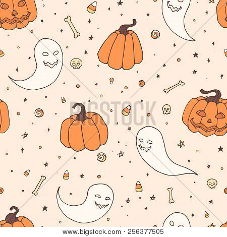 Vector Halloween Repeat Pattern With Pumpkins, Ghosts With Scary Faces, Bones, Skulls And Candy Corn