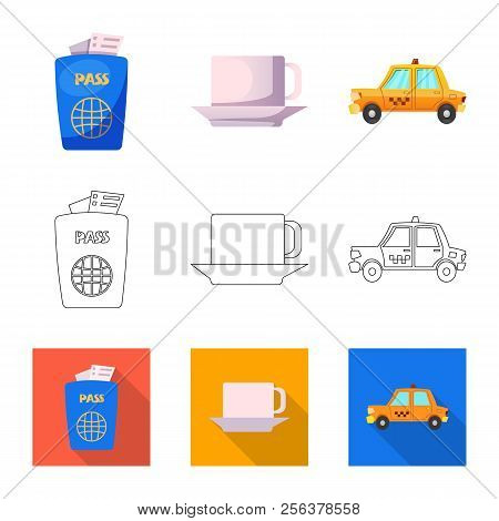 Vector Illustration Of Airport And Airplane Sign. Set Of Airport And Plane Stock Symbol For Web.