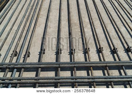 Reinforcing Rods Laid On The Plastic Clips To Ensure The Required Concrete Cover.