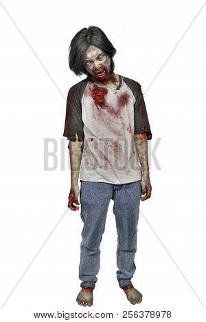 Creepy Zombie Man With Bloody Mouth Standing Isolated Over White Background