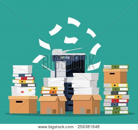 Office Multifunction Machine. Pile Of Paper Documents, Boxes And Folders. Bureaucracy, Paperwork, Of