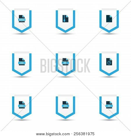 Types Icons Colored Set With Text, File Cad, File Archive And Other Zip Elements. Isolated Vector Il