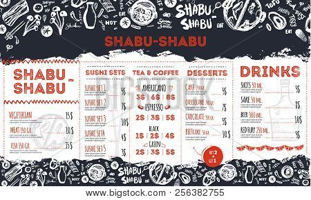 Modern Shabu Sukiyaki Restaurant Template With Grunge Doodles And Lettering. Asian Vector Template D