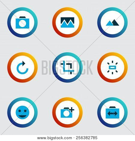 Picture Icons Colored Set With Filter, Add A Photo, Photographing And Other Photo Elements. Isolated