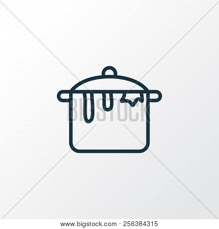 Dirty Pot Icon Line Symbol. Premium Quality Isolated Casserole Element In Trendy Style.