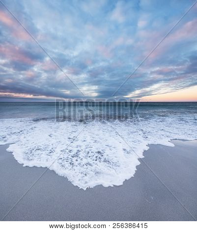 Coastline During Sunset On The Lofoten Islands, Norway. Natural Seascape In The Norway. Waves And Sa