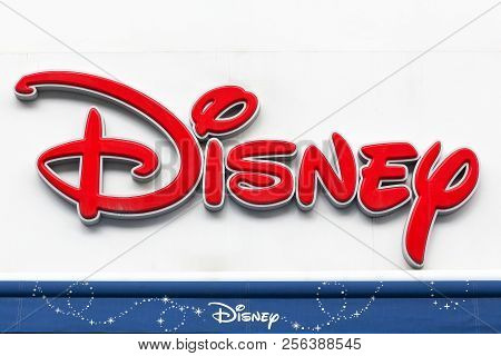 Copenhagen, Denmark - August 26, 2018: Sign Of Disney Store On A Wall. Disney Is An American Diversi