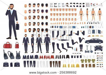 Caucasian Businessman Or Clerk Creation Set Or Diy Kit. Bundle Of Male Cartoon Character Body Parts,