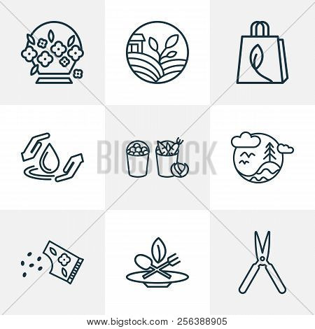Ecology Icons Line Style Set With Eco Food, Flower Seed, Flower Basket And Other Drop Elements. Isol