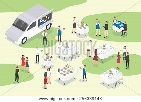 People Providing Catering At Formal Event Or Occasion. Group Of Food Service Workers Setting Tables,