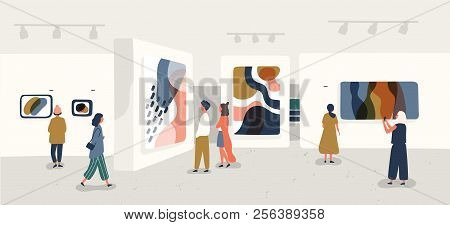 Exhibition Visitors Viewing Modern Abstract Paintings At Contemporary Art Gallery. People Regarding