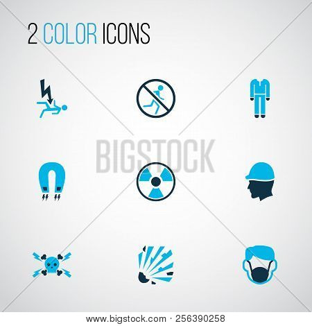 Protection Icons Colored Set With Head Protection, Protective Clothing, Dust Mask And Other Electric