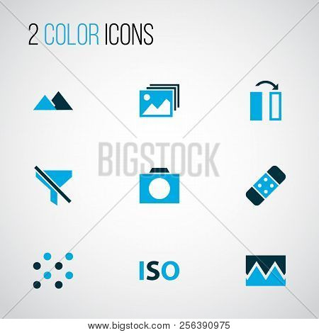 Image Icons Colored Set With Photographing, Flip, Filtration And Other Photo Apparatus Elements. Iso