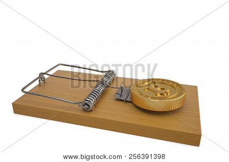 Mousetrap with bitcoin on white background 3D illustration. poster