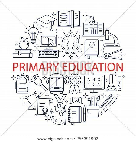 Primary Education Icons Set. Outline Icon Collection - School Education. Education Simbols For Web A