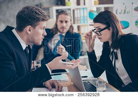Three Business People, Young Lady Boss In Glasses, Having Debates Conversation, Misunderstanding, Di