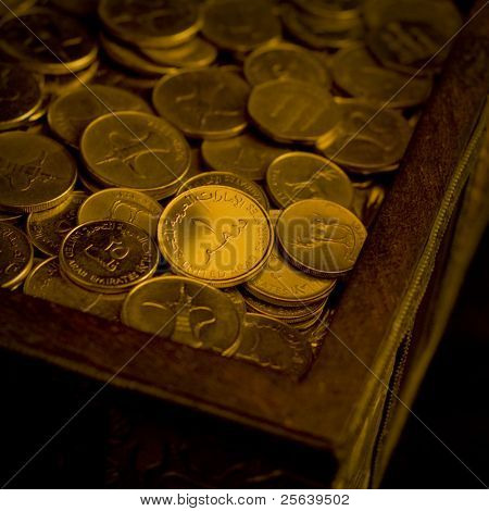 A heap of UAE Dirham coins in a trunk.