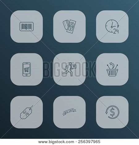 E-commerce Icons Line Style Set With Money Back, Returns, 24 Hour Service And Other Revenue Elements