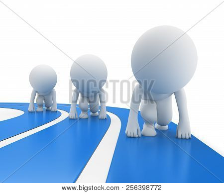3d Small People - Runners At The Start. 3d Image. White Background.