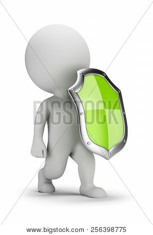 3d Small Person With A Shield. 3d Image. White Background.