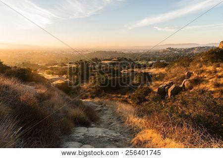 Golden dawn light at Santa Susana Pass State Historic Park in Los Angeles, California.