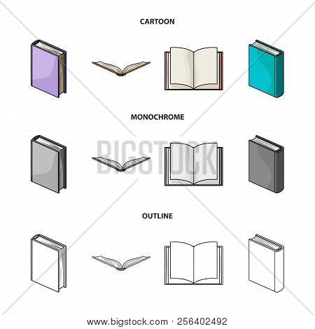Various Kinds Of Books. Books Set Collection Icons In Cartoon, Outline, Monochrome Style Vector Symb