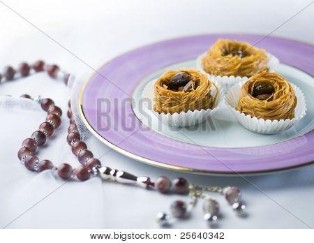 Arabic sweet- kunafa and a islamic rosary