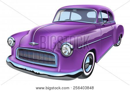 Vintage Vector Illustration Of Classic American Car
