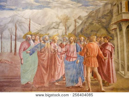 Famous Fresco The Tribute Money In The Brancacci Chapel In Florence
