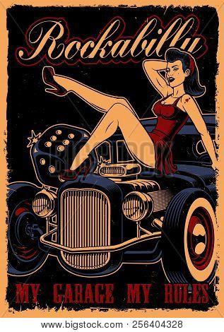 CAR GARAGE GIRL Poster