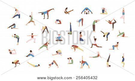 Crowd Of Tiny People Performing Yoga Exercises. Men And Women Practicing Asana Isolated On White Bac