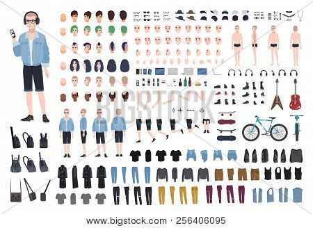 Young Teenage Boy Diy Kit. Set Of Teenager's Body Parts In Different Positions, Various Subcultures'