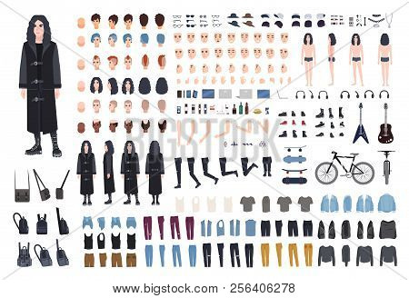 Goth Or Metal Rocker Creation Set. Collection Of Teenager's Body Parts, Various Subcultures' Attribu
