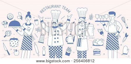 Horizontal Banner Template With Chief, Cook, Waiter And Waitress Surrounded By Food Products And Coo