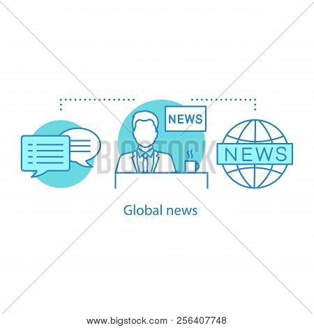 News Broadcasting Concept Icon. Tv Presenter. News Studio. Global News Idea Thin Line Illustration.