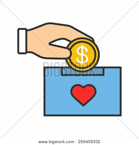 Donation Box Color Icon. Moneybox. Fundraising. Donate Money To Charity. Hand Dropping Dollar Coin I