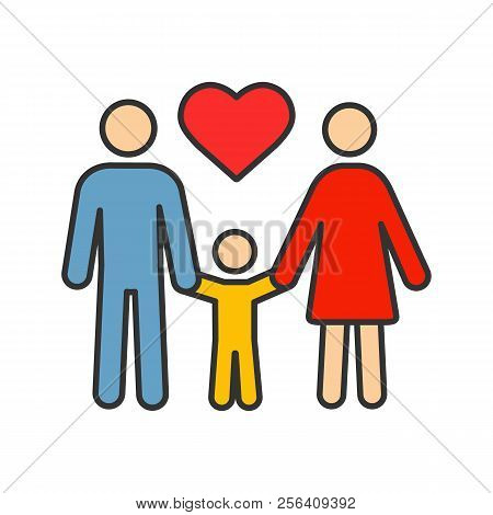 Family Color Icon. Adoption. Parenthood. Mother, Father And Child. Isolated Vector Illustration