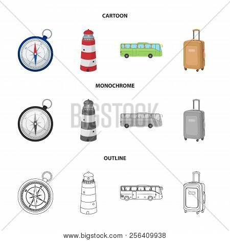 Vacation, Travel, Lighthouse, Compass .rest And Travel Set Collection Icons In Cartoon, Outline, Mon
