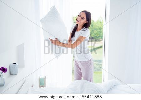 Daily Home Work Routine. Charming Beautiful Nice Stylish Brunette Girl Doing Everyday House Work, Ho