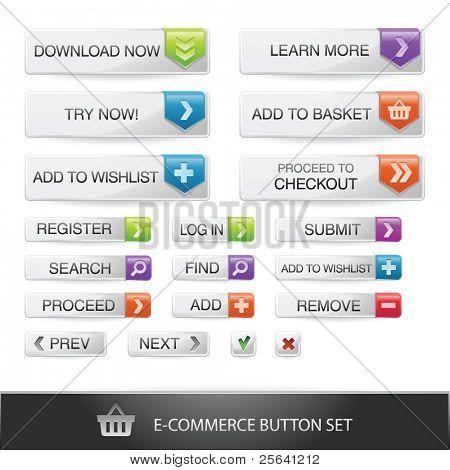 E-commerce web button set with transparent shadows