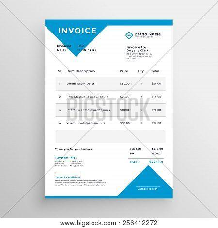 Minimal Blue Invoice Template Design Vector Illustration
