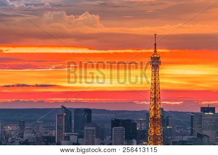 Paris, France-june 30, 2017:tour Eiffel Detail At Colorful Sunset Sky From Panoramic Terrace Of Tour